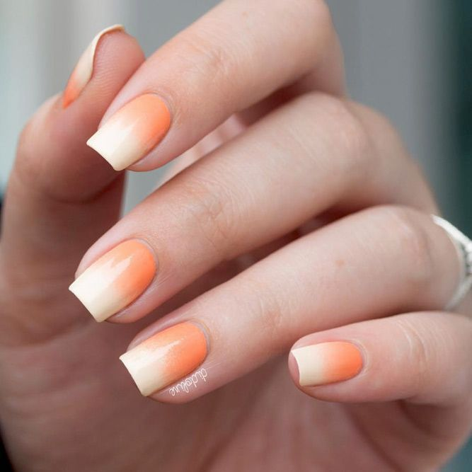 31 Juicy Summer Nail Colors For More Fun In The Sun Orange Ombre Nails Soft Nails Summer Nails