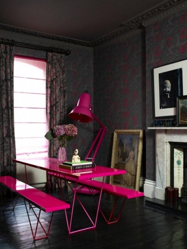 Decor, Dining Room, Hotpink, Colors, Interiors Design, Pink Furniture, Hot Pink, Picnics Tables, Pink Tables