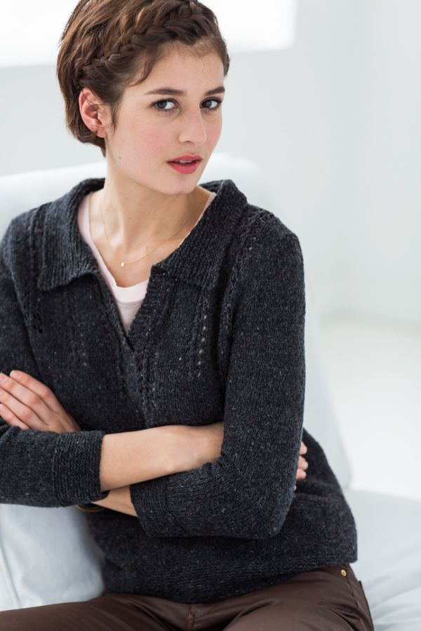 A weightless pullover with vintage styling and a simple lace yoke completes any outfit. Merle is knit in Loft, worked in the round up to the sleeve join, with deep hems and cuffs of garter stitch. The fronts, back, and sleeve caps are worked flat and sewn together. Inset panels of delicate eyelet columns on …