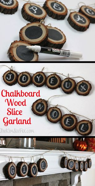 Using slices of tree branch and chalkboard paint, you can create a completely customizable wood slice banner or garland, perfect for that rustic/natural look. HomeForFall
