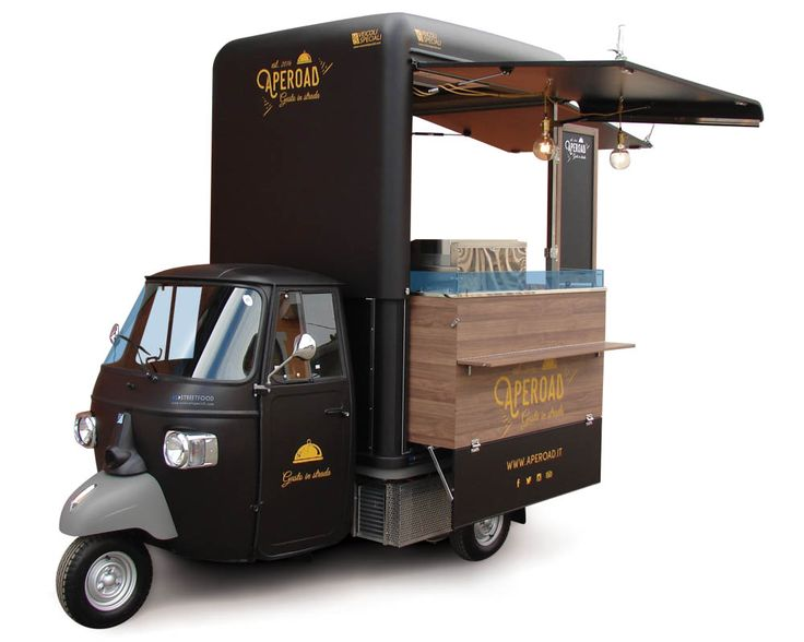 Buy a new food van for catering and street selling. Here you can See a Piaggio Food Catering Van design by the italian builder VS. Small elegant apecar >