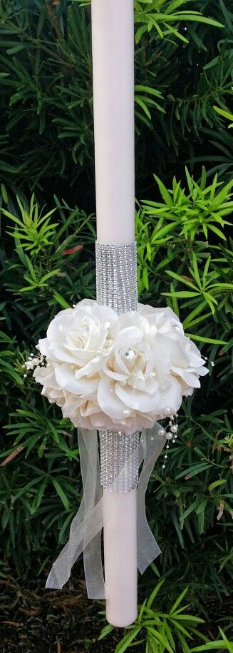 """Stunning rose wedding lambada candle. $350 for set of 2 large 36"""" candles and 2 small matching candles."""