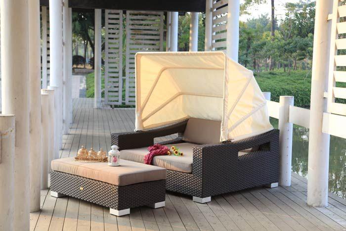 Rattanshop: Sonnenliege - Rattan - Gartenmöbel - Liege - Beach Chair - schwarz