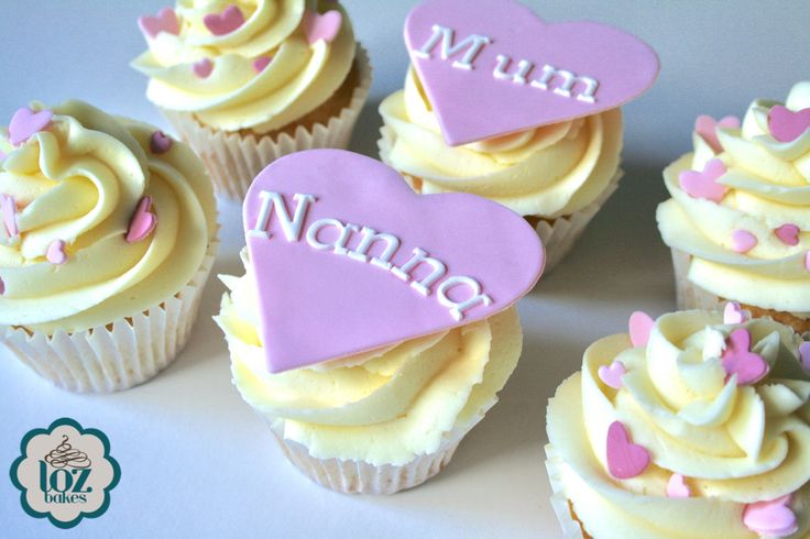 Mother's Day cupcakes with handmade edible hearts.