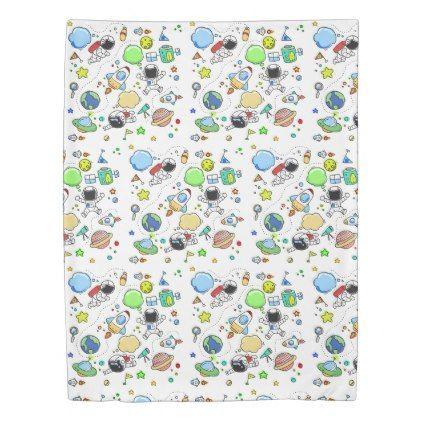 Cartoon Space Themed Boys Duvet Cover - pattern sample design template diy cyo customize