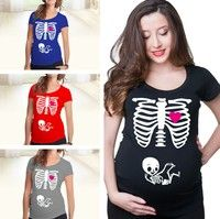 Wish | Maternity Pregnancy Funny Xray Skeleton Bany Print Clothes for Pregnant Women Maternity T-Shirt