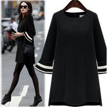 2016 Sonbahar Kadın Yeni Artı Boyutu Parlama Uzun Kollu Gevşek Elbiseler Moda Rahat Siyah Seksi Mini Parti Elbise XXXXXL(China (Mainland))