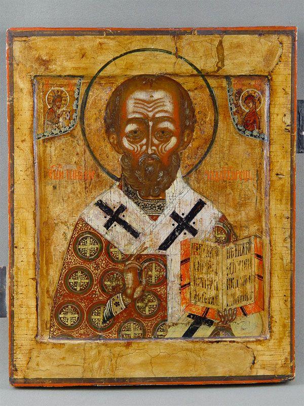 Антиквариат. антикварная Икона «Святой Николай Чудотворец». старинные иконы