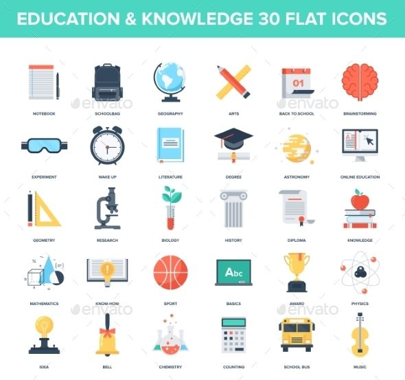 Education Icons — Vector EPS #bag #literature • Available here → https://graphicriver.net/item/education-icons/9555942?ref=pxcr