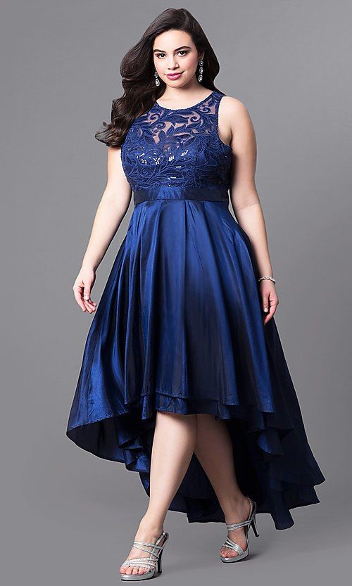 b37141a1fdd High-Low Plus-Size Wedding Guest Dress with Lace Plus Size Party Dresses