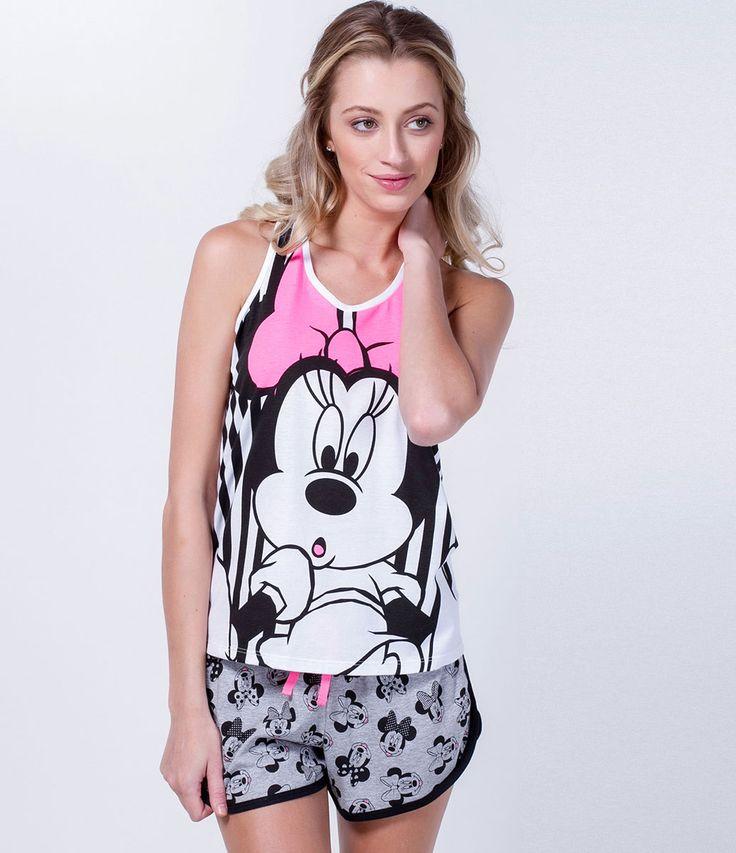 Short doll feminino  Com estampa da Minnie  Marca: Disney  Tecido: meia malha  Composição: 100% algodão  Modelo veste tamanho: P       COLEÇÃO VERÃO 2016       Veja outras opções de    pijamas femininos.
