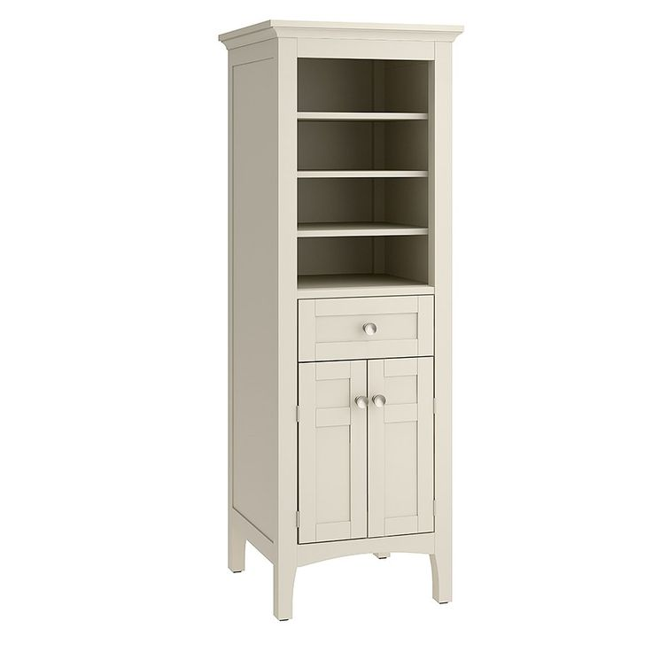 Allen roth wrest park cream linen cabinet 18 inch for Bathroom cabinets 90
