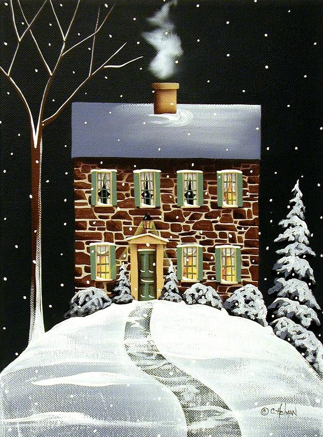 Evergreen Cottage House Poster And Evergreen