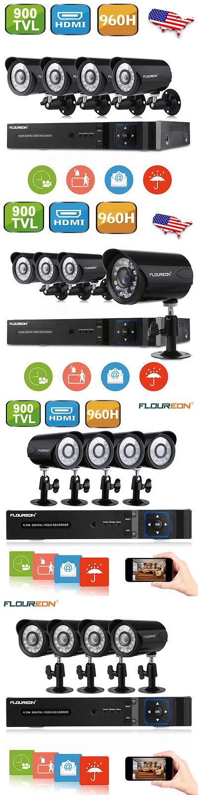 Surveillance Security Systems: Floureon 8 Channel Hdmi Dvr 960H Cctv Outdoor 900Tvl Home Security Camera System -> BUY IT NOW ONLY: $79.79 on eBay!