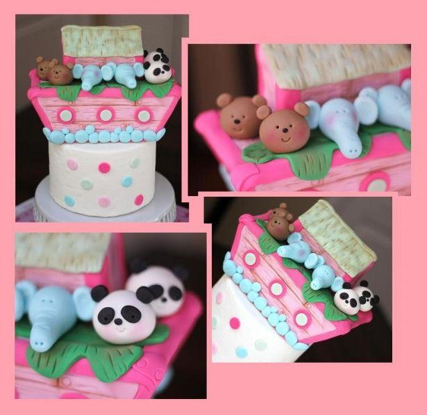 Fondant Cake Topper - Over 40-Piece Large Noah's Ark Cake Topper Set - Girl Noah's Ark Fondant Topper by Les Pop Sweets on Gourmly