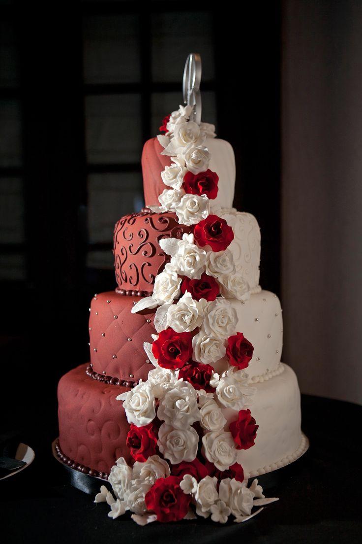 two toned fondant wedding cake just change the burgundy