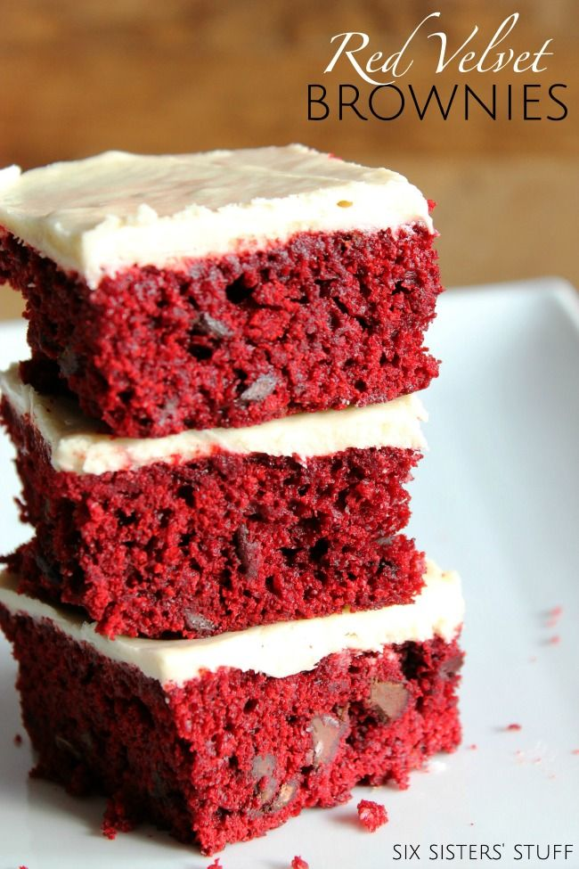 Red Velvet Brownies with White Chocolate Butter Cream Frosting. Dessert Heaven. | SixSistersStuff.com