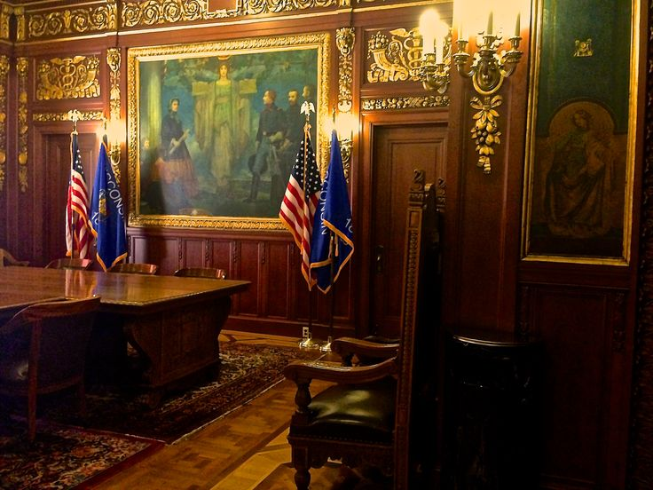 This is the Governor's Room in the State Capitol building in Madison, Wisconsin.  This extraordinary room is used for many gubernatorial occasions, including bill signings.