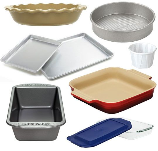 """The Kitchn's Guide to Essential Baking Pans Setting Up a Kitchen:  1. A 9"""" x 13"""" Glass, Ceramic, or Metal Baking Pan:  2. An 8"""" x 8"""" or 9"""" x 9"""" Square Baking Pan:  3. Two Commercial-Quality Half Sheet Pans:  4. A 9"""" or 10"""" Round Cake Pan:  5. A Muffin Pan OR Paper Souffle Cups:  6. A 9"""" or 10"""" Pie Pan:  7. A 9"""" x 5"""" Loaf Pan."""