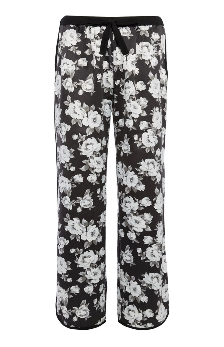 Zwart-witte gebloemde pyjamabroek satijn