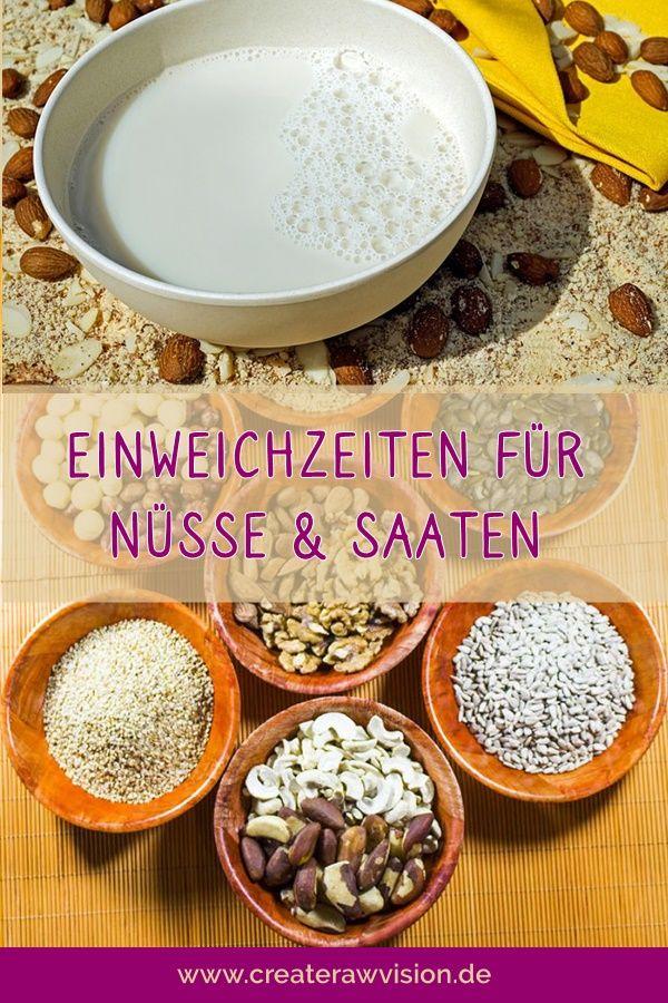 Einweichzeiten Von Saaten Und Nussen Createrawvision Lebensmittel Essen Vegane Lebensmittel Essen Und Trinken