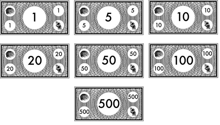 Black and white play money