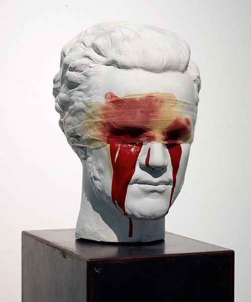 This sculpture shows when Oedipus gauges out his own eyes when he finds out the oracle was about him. He married his mother and killed his father- although at the time he didn't know it was his father. I think him tearing his eyes out symbolizes how disgusted he was with himself and he no longer wanted to see anyone else.