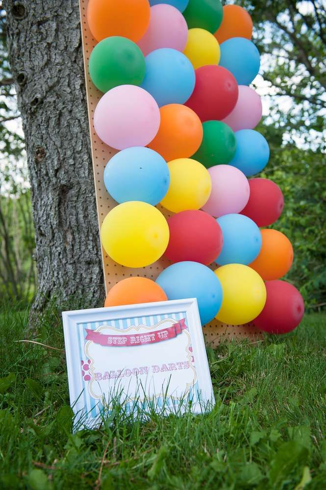 Balloon dart Carnival Birthday Party Game!  See more party planning ideas at CatchMyParty.com!