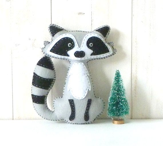 Raccoon Stuffed Animal PATTERN, Hand Sewing Felt Raccoon Plushie Pattern, Raccoon Softie Pattern