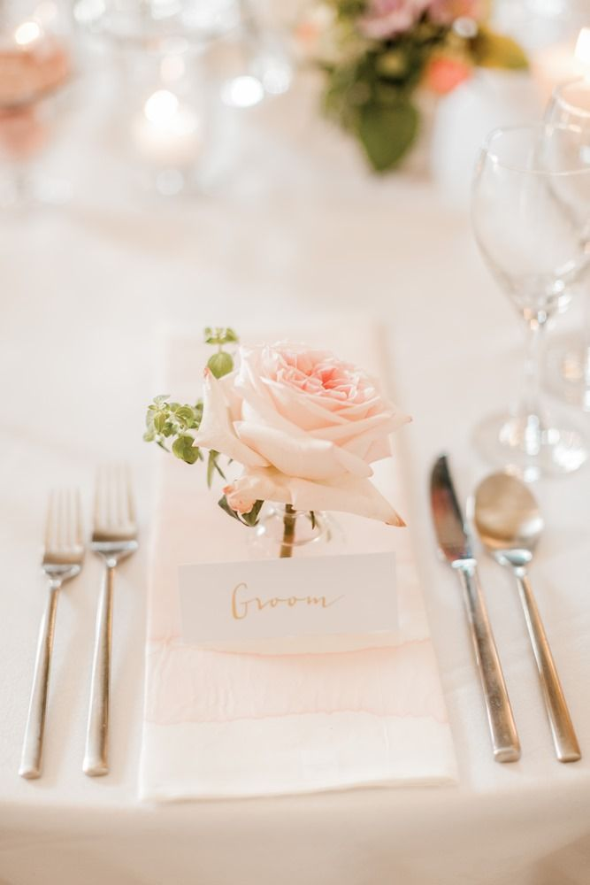 Gold Calligraphy Place Setting | Almonry Barn South West Wedding Venue | Romantic Wedding Decor | Pink Colour Scheme | Penoy & Rose Floral Displays | Cake Table | Naomi Kenton Photography | http://www.rockmywedding.co.uk/louise-paul