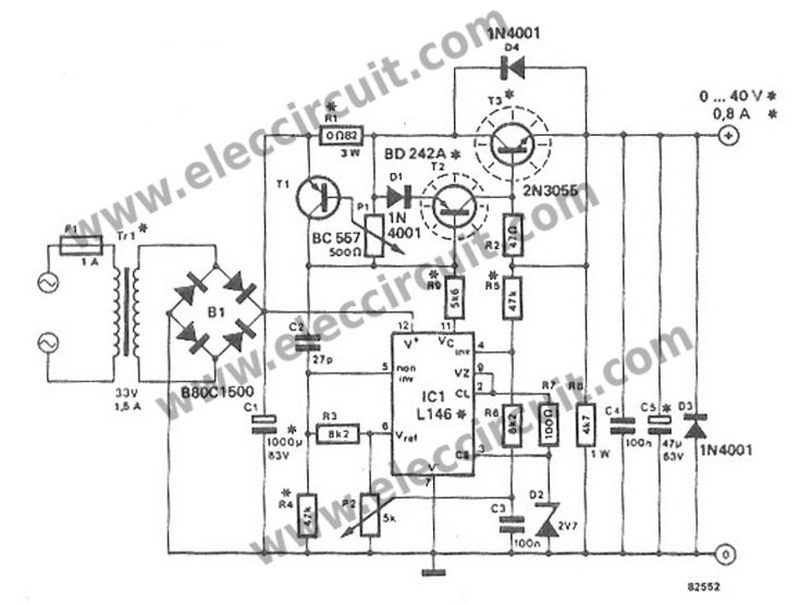 variable power supply circuit  0-50v at 3a with pcb