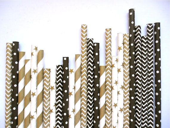25 or 50 Black and Gold Mixed Paper Straws by PopUpPartiesShop