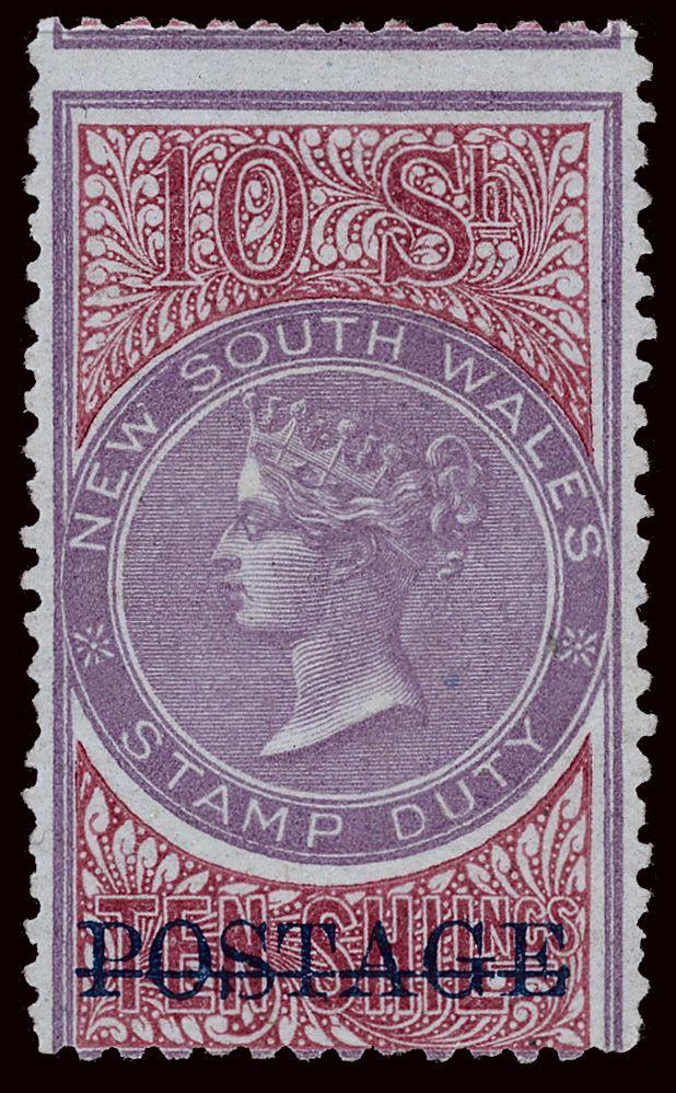 New South Wales 75 (241b) 1885-86 10' mauve and claret Q Victoria, overprinted…