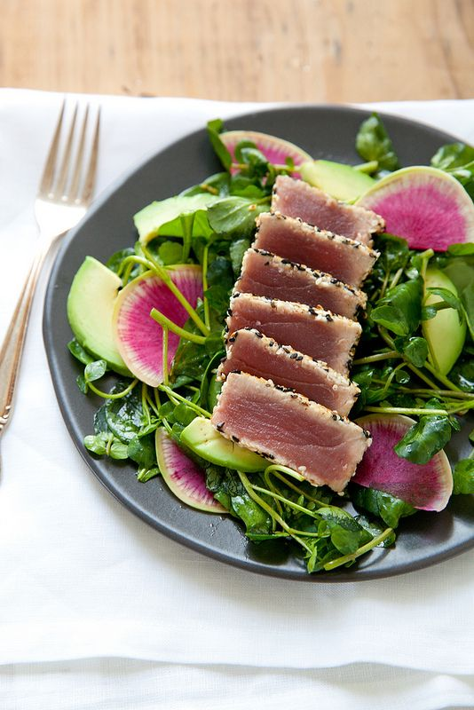 Seared Sesame Tuna Salad with Ginger Soy Vinaigrette | Annie's Eats