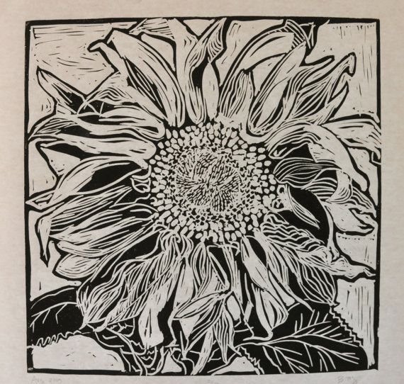California sunflower handprinted block print, limited edition of 10, for sale on etsy