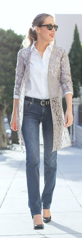 taupe lace duster jacket layered over white oxford collared button down shirt, medium wash straight leg jeans, gold choker collar necklace + classic black pointed toe heels  |  @LoveChicos