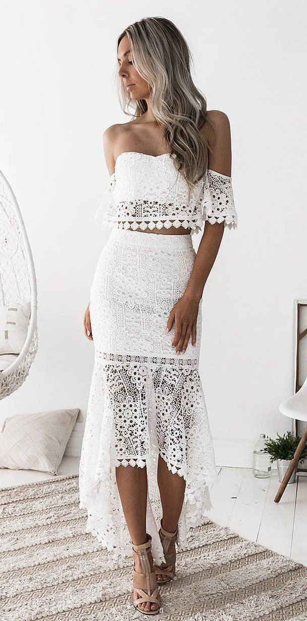 white off-shoulder dress #spring #outfits
