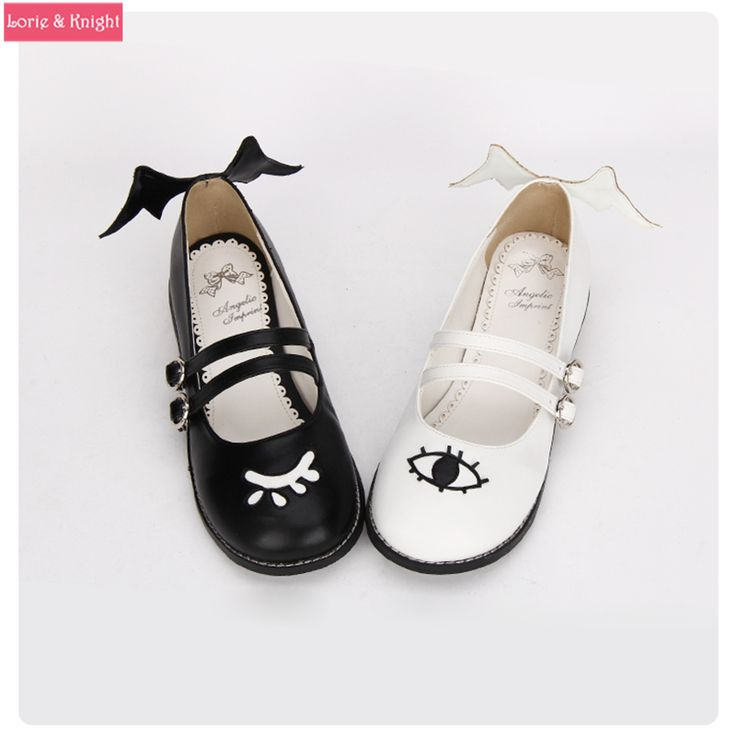 The Devil and Angle's Eye & Wing Black and White Gothic Lolita Shoes Square Heel Mary Jane Shoes