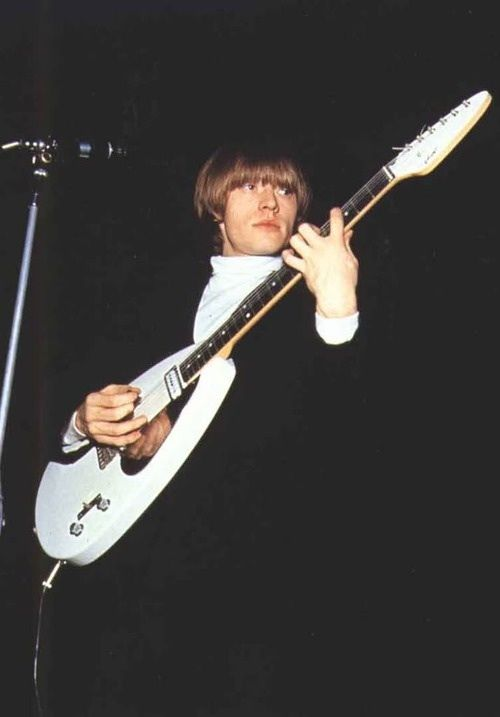 Brian Jones,  Vox 'Teardrop' Phantom  This is perhaps the most famous guitar that Brian Jones played! He used his Teardrop from about the summer of 1964 through late spring early summer of 1965. This guitar features a rosewood fretboard, two single coil pick-ups, three way selector switch and had an adjustable bridge. Brian used this guitar at the Richmond jazz festival in August 1964 and also on the second US Tour in October 1964 including when the Stones first appeared on the Ed Sullivan…