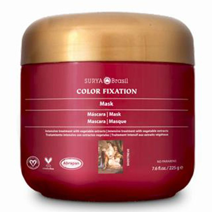 Surya Henna, Color Fixation - Restorative Hair Mask. It's concentrated blend of herbs and fruit butters moisturizes and gives shine, softness and vitality to brittle and damaged hair. Protects and promotes long-lasting color.