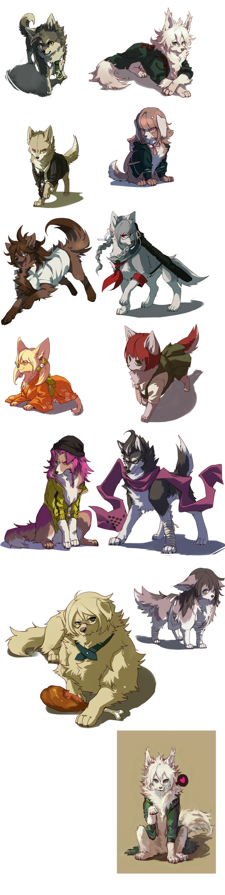 Dangan Dogs - By NoneNess. Love them all! But I miss Sonia.