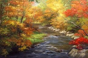 paintings: Beautiful Autumn, Fall Leaves, Art Paintings, The Artists, Color, Landscape Photos, Landscape Paintings, Landscape Oil Paintings, Autumn Stream