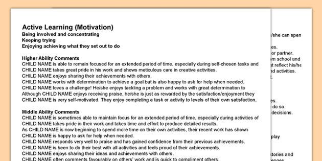 Classroom Transition Ideas ~ Report writing bank of differentiated statements eyfs