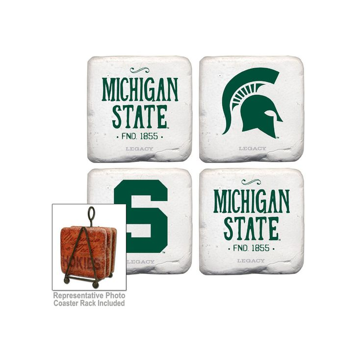 Legacy Athletic Michigan State Spartans 4-Piece Vintage Tumbled Coaster Set, Dark Green
