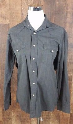 Lucky Brand Small Duncarees America Olive Stripped Braided Button Down Shirt