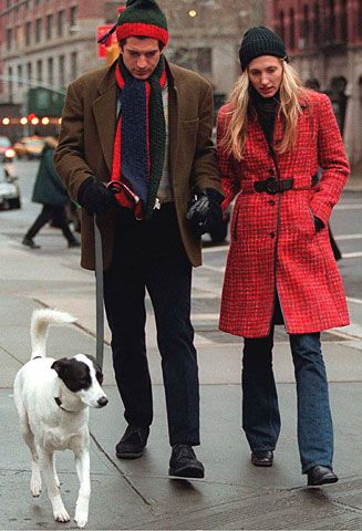 The Timeless Style of JFK Jr.   Jan. 1, 1997: John and wife Carolyn with pup on New Year's Day in New York City: John Kennedy, Carolyn Bessette Kennedy, John F Kennedy, Style Icons, John John, Nu'Est Jr, Jfkjr, Red Coats, Jfk Jr
