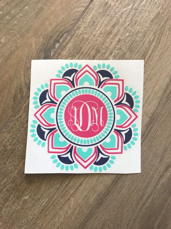 Three Color Mandala Monogram Sticker Decal / by SavoringSurprises