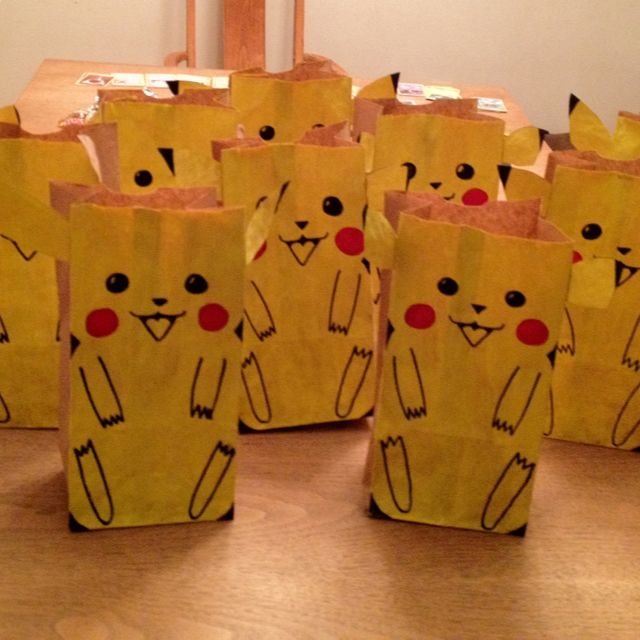 Pokemon gift bags for my son's birthday party