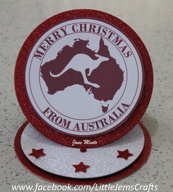 Australian easel Christmas card, made with a digital stamp from Mint's Designs on Etsy.  Kangaroo Christmas