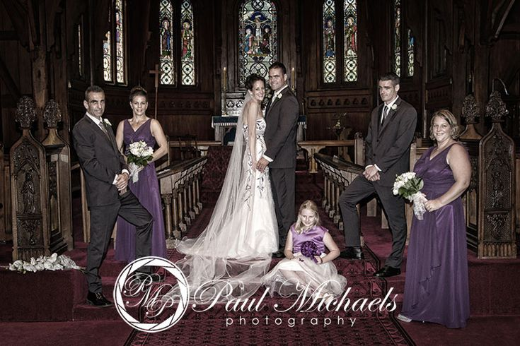 The wedding party in Old St Pauls church, Wellington. PaulMichaels Wellington wedding photography http://www.paulmichaels.co.nz/